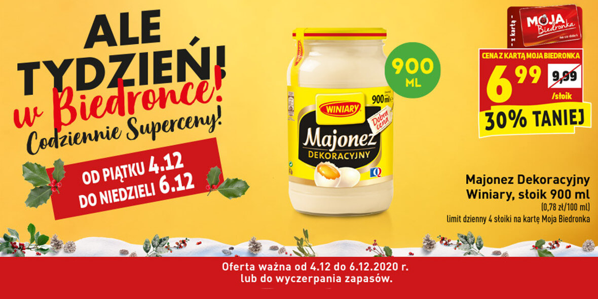 Biedronka: -30% na majonez Dekoracyjny Winiary 04.12.2020