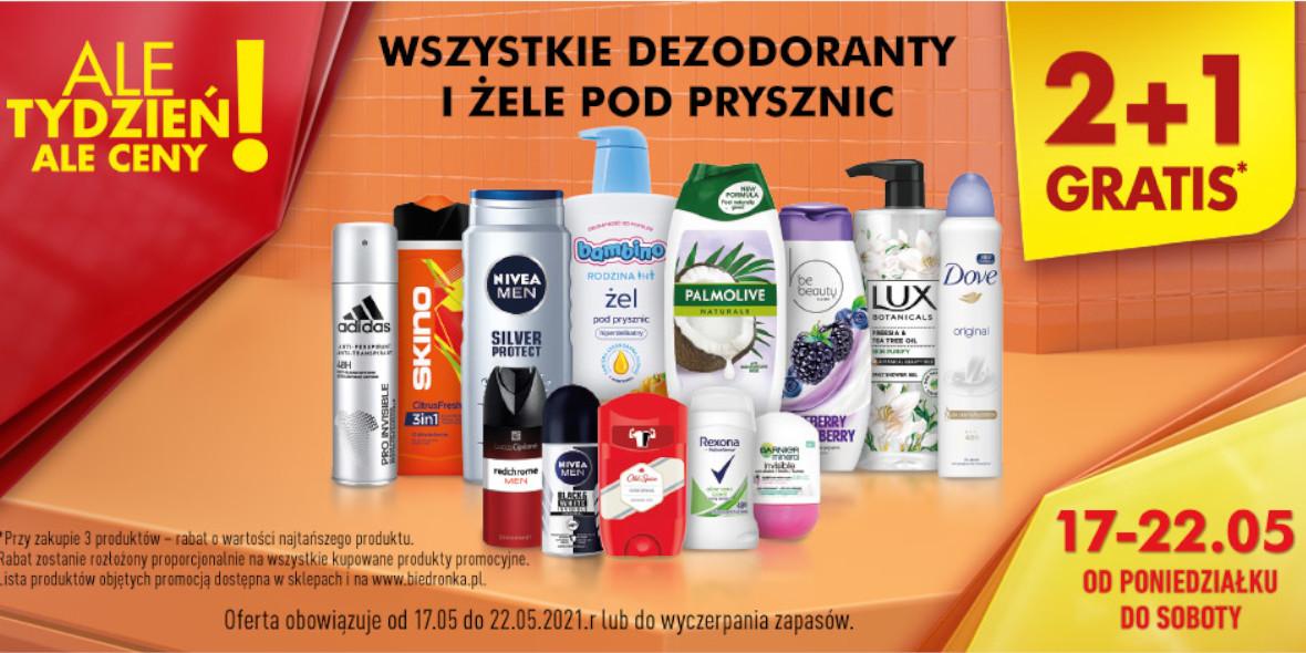 Biedronka: 2 + 1 na wszystkie dezodoranty i żele pod prysznic 17.05.2021