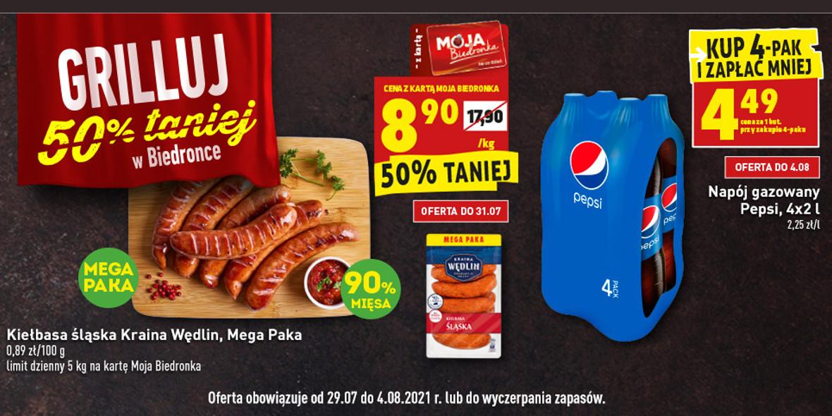 Biedronka:  -50% na produkty na grilla 29.07.2021