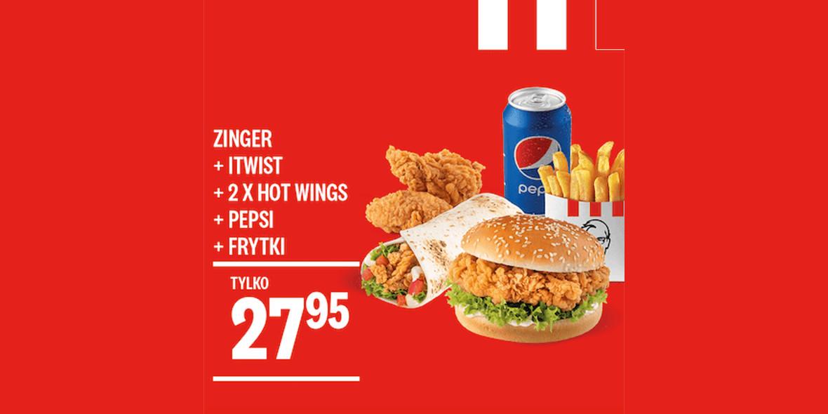 KFC: 27,95 zł Zinger + iTwist + 2x Hot Wings + Frytki + Puszka 09.03.2021
