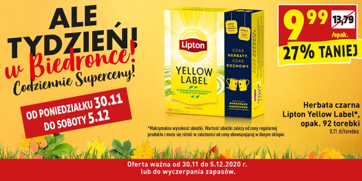 Biedronka: -27% na herbatę czarną Lipton Yellow Label 30.11.2020