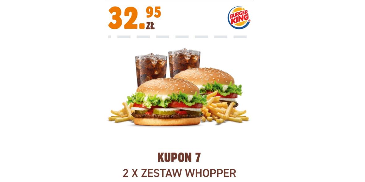 Burger King: 32,95 zł 2 x Zestaw Whopper