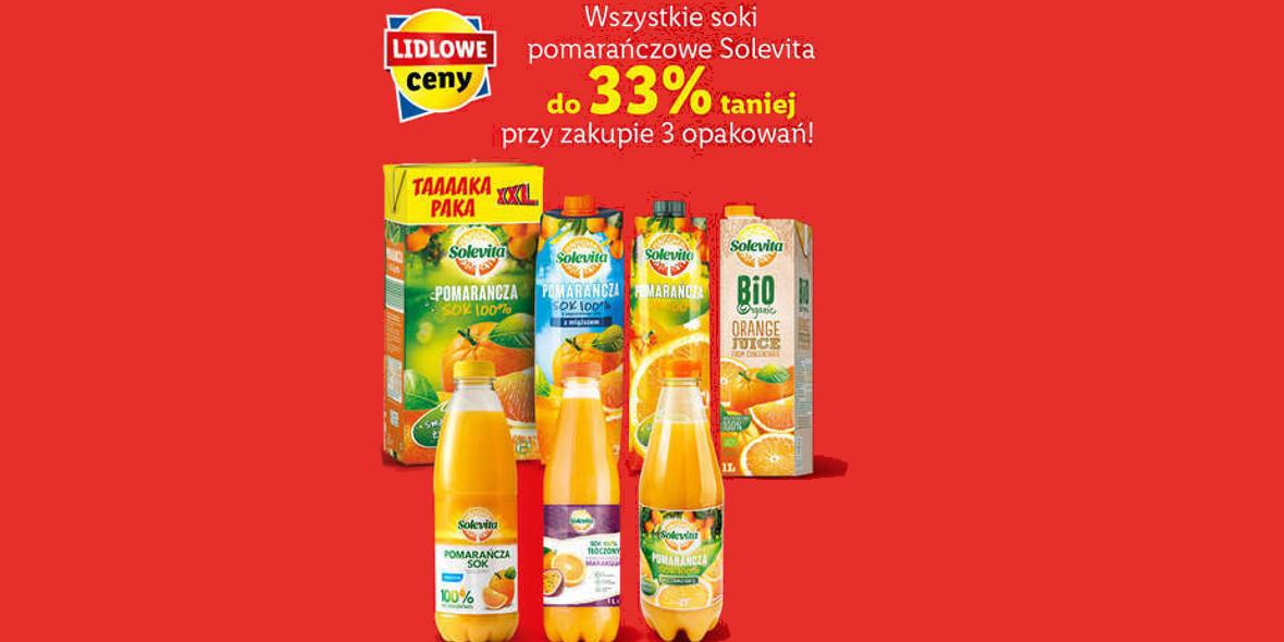 Lidl: Do -33% na wszystkie soki pomarańczowe Solevita 25.01.2021