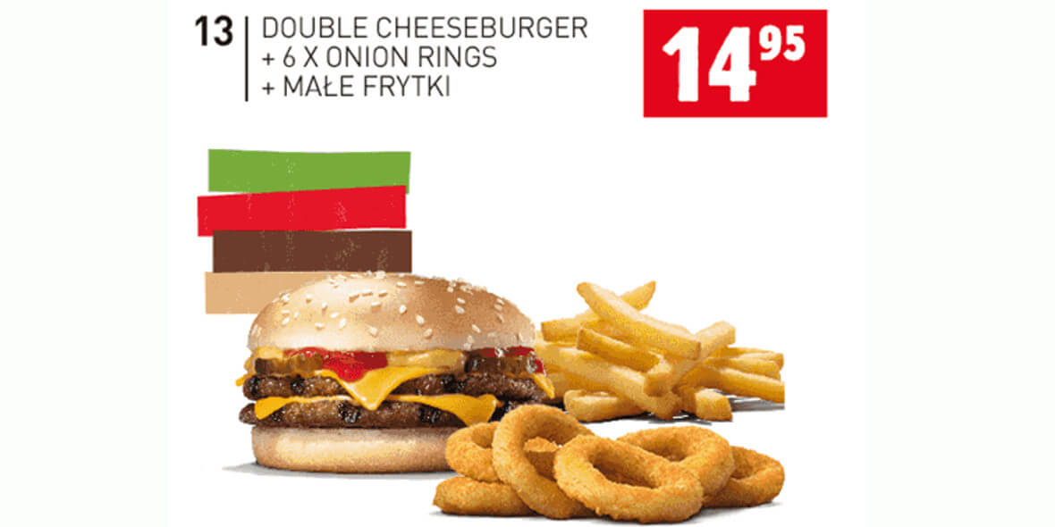 za Double Cheeseburger+6xOnion Rings+małe frytki