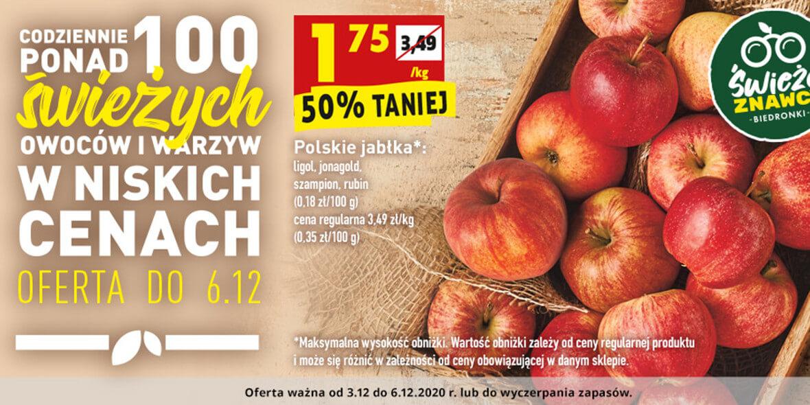 Biedronka: -50% na polskie jabłka 03.12.2020