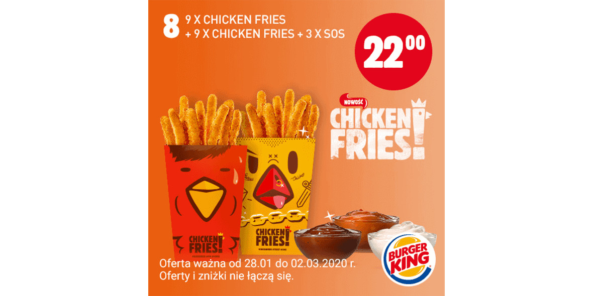 za 9x Chicken Fries + 9x Chicken Fries + 3x Sos