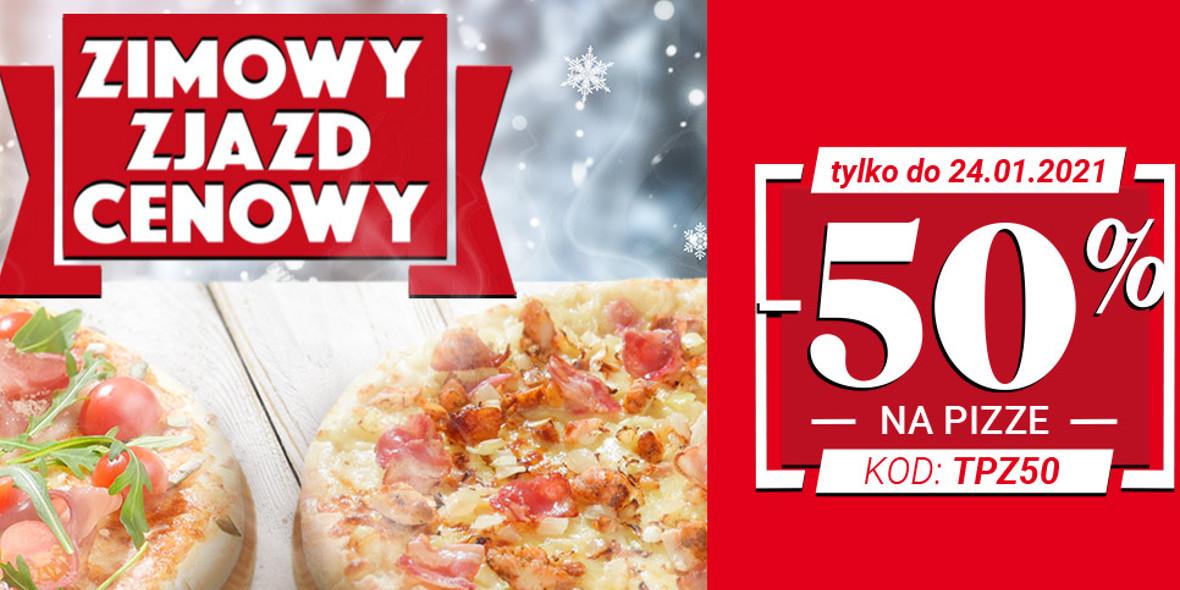 Telepizza:  Kod: -50% na pizze 01.01.0001