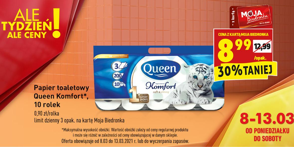 Biedronka:  -30% na papier toaletowy Queen Komfort 08.03.2021