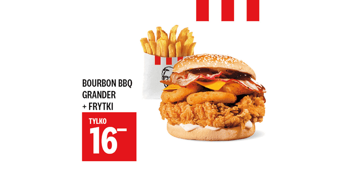 KFC: 16 zł za Bourbon BBQ Grander + Frytki 17.03.2021