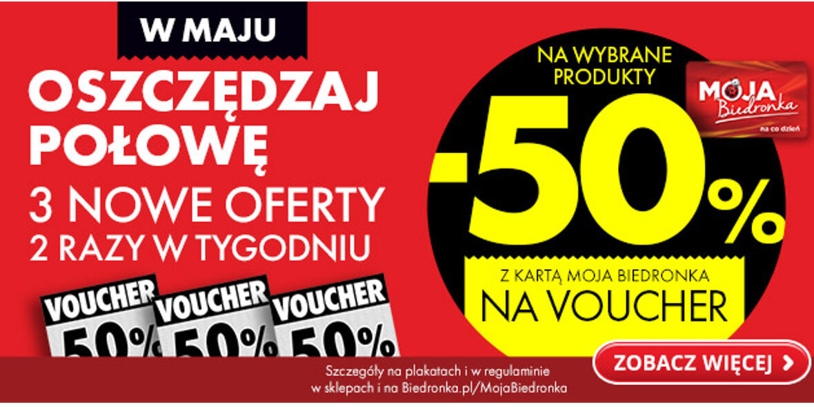 Biedronka: -50% na voucher z kartą Moja Biedronka 04.05.2021