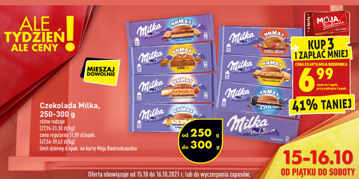 Biedronka:  -41% na czekoladę Milka 15.10.2021