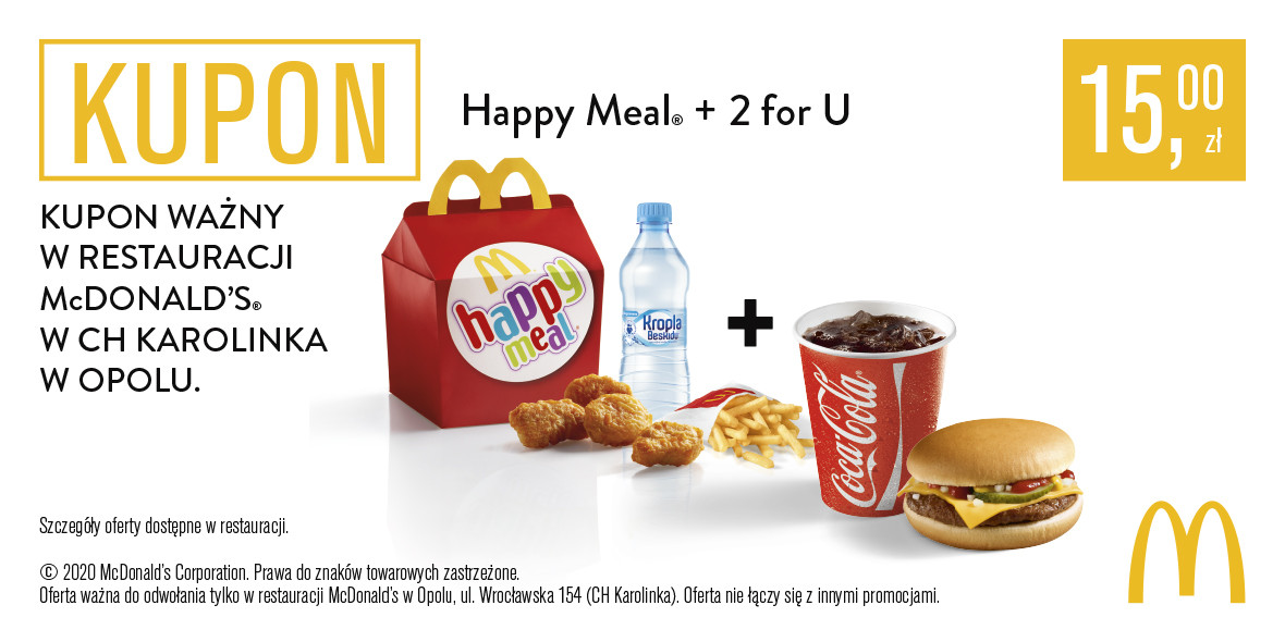 McDonald's: 15 zł za Happy Meal® + 2 for U