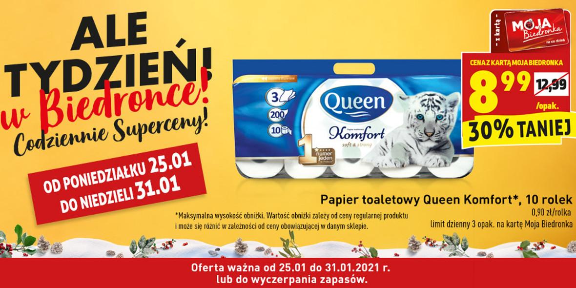 Biedronka: -30% na papier toaletowy Queen Komfort 25.01.2021