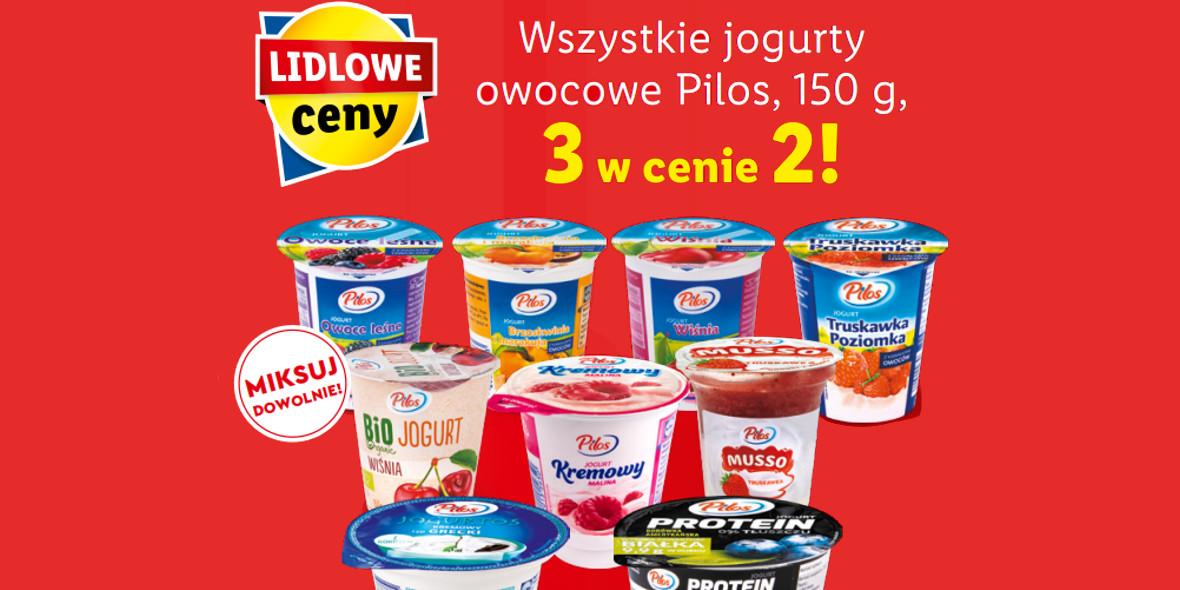 Lidl:  3 w cenie 2 wszystkie jogurty owocowe Pilos 25.01.2021
