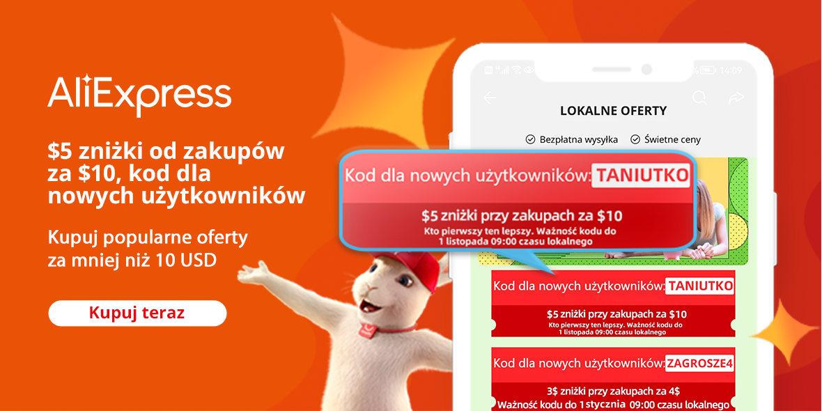 AliExpress: Kod: -5$ dla nowych użytkowników AliExpress 17.09.2021