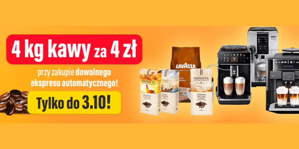 RTV EURO AGD: 4 zł za 4kg kawy przy zakupie dowolnego ekspresu 26.09.2021