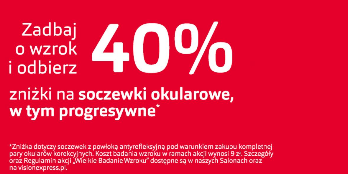 Vision Express: -40% na soczewki okularowe 26.02.2021