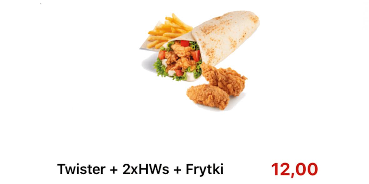 KFC: 12 zł za Twister +2xHWs+Frytki 17.09.2020