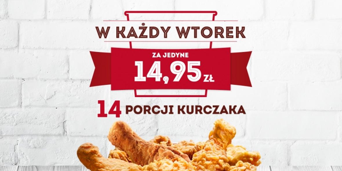 KFC: 14,95 zł za kubełek - 14 porcji kurczaka 09.02.2021