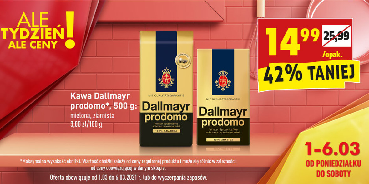 Biedronka: -42% na kawę Dallmayr prodomo 01.03.2021