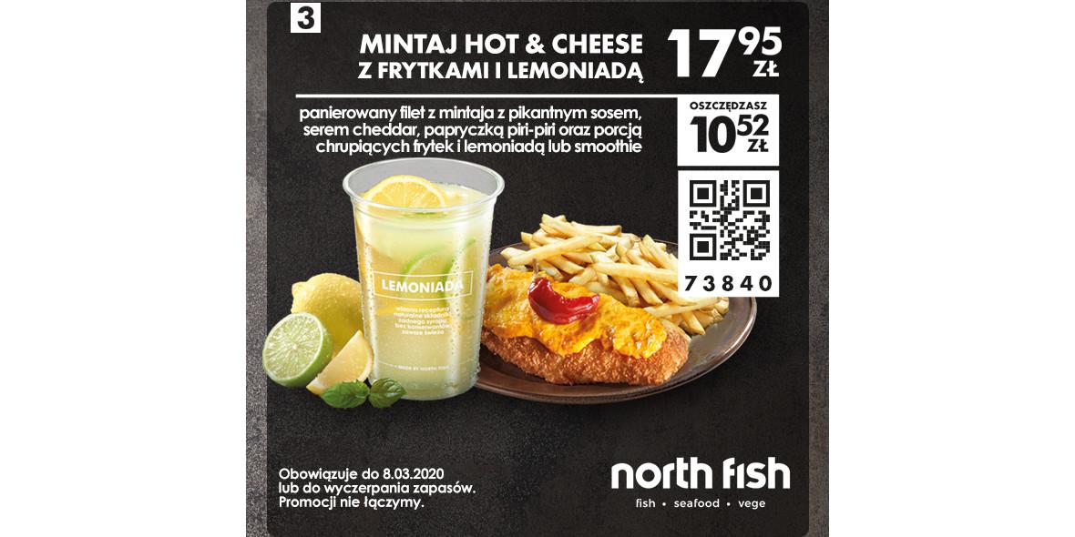 Mintaj Hot & Cheese z frytkami i lemoniadą
