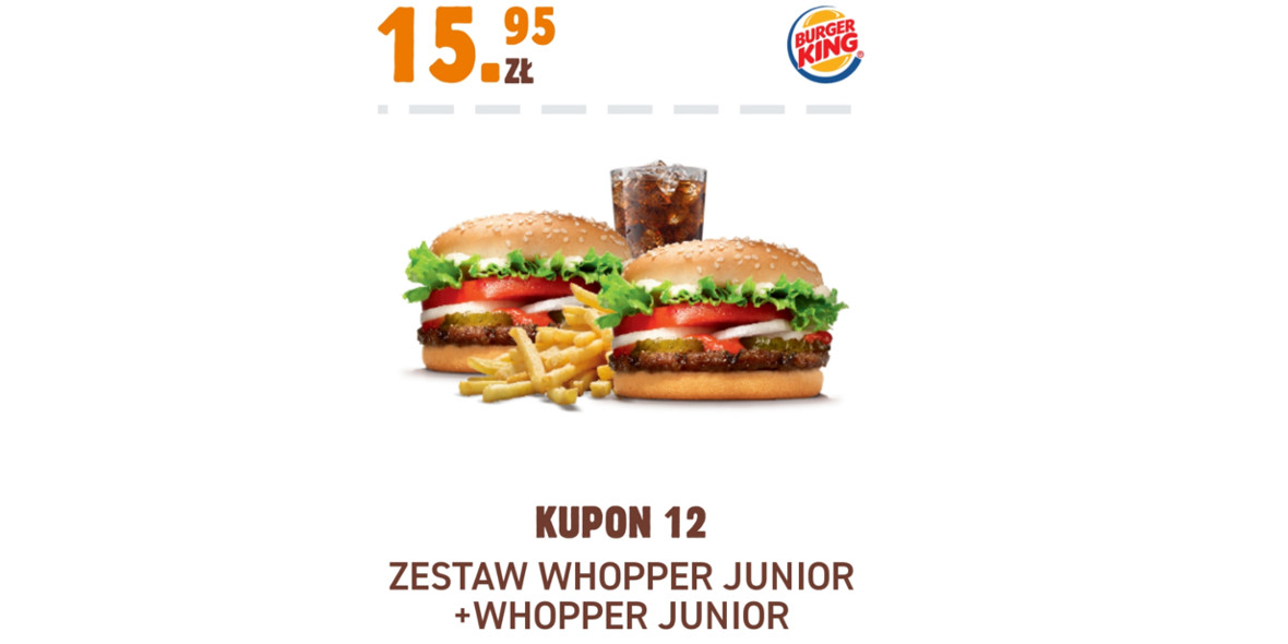 Burger King: 15,95 zł Zestaw Whopper Junior + Whopper Junior 17.11.2020