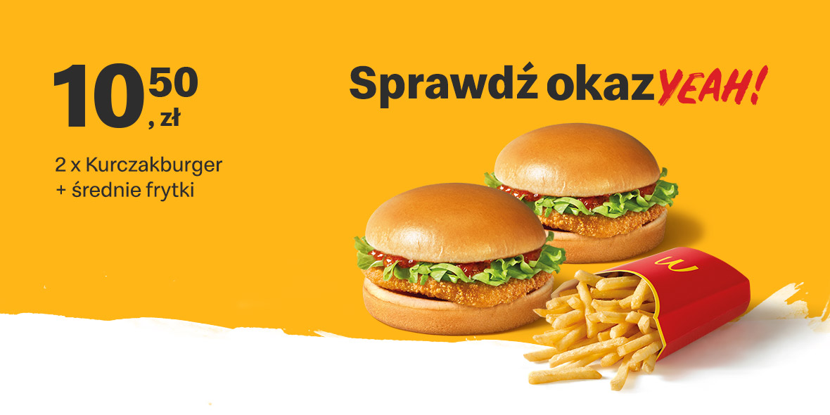 McDonald's: 10,50 zł 2 x Kurczakburger + średnie frytki 18.01.2021