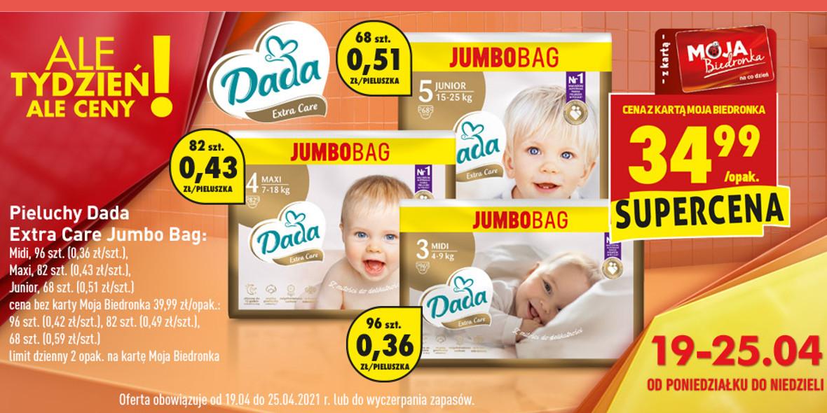 Biedronka:  34,99 zł za pieluchy Dada Extra Care Jumbo Bag 19.04.2021