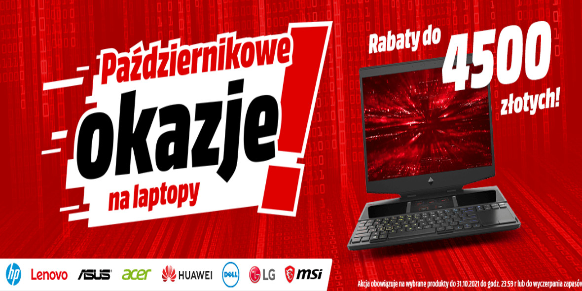 Media Markt: Do -4500 zł na laptopy 22.10.2021
