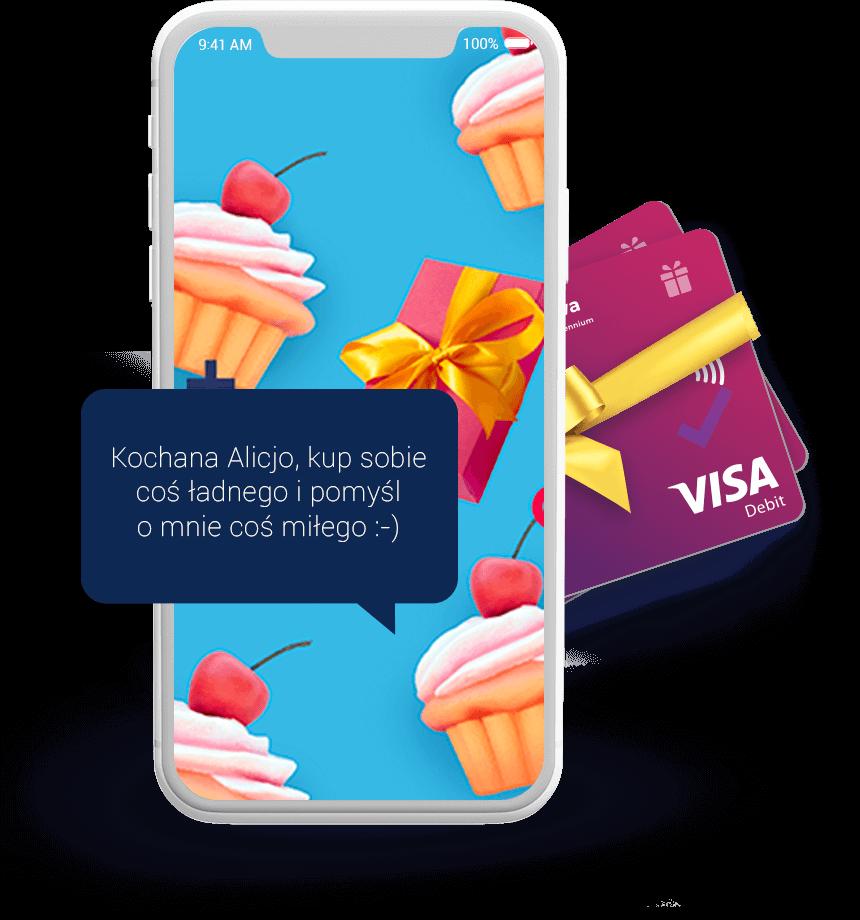 elektroniczna karta podarunkowa goodie w telefonie. Zyczenia na kazda okazje: gratulacje, urodziny, swieta